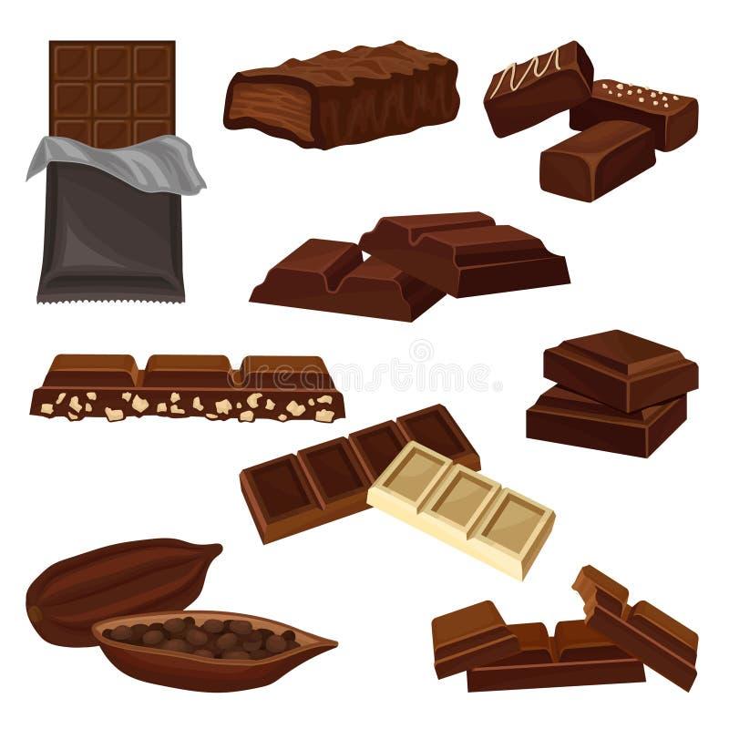 Flacher Vektorsatz Schokoladenprodukte Süßigkeiten, Stücke Stangen und Kakaobohne voll von Samen Süße Nahrung Elemente für lizenzfreie abbildung