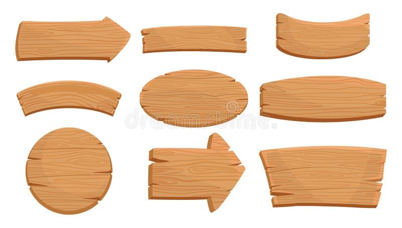 Flacher Vektorsatz verschiedene hölzerne Schilder und Richtungspfeile Natürliche Beschaffenheit Zeichen mit Platz für Ihre Mittei lizenzfreie abbildung
