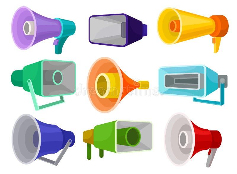 Flacher Vektorsatz verschiedene Megaphone Lautsprecher Gegenstände für allgemeine Mitteilung der Mitteilung lizenzfreie abbildung