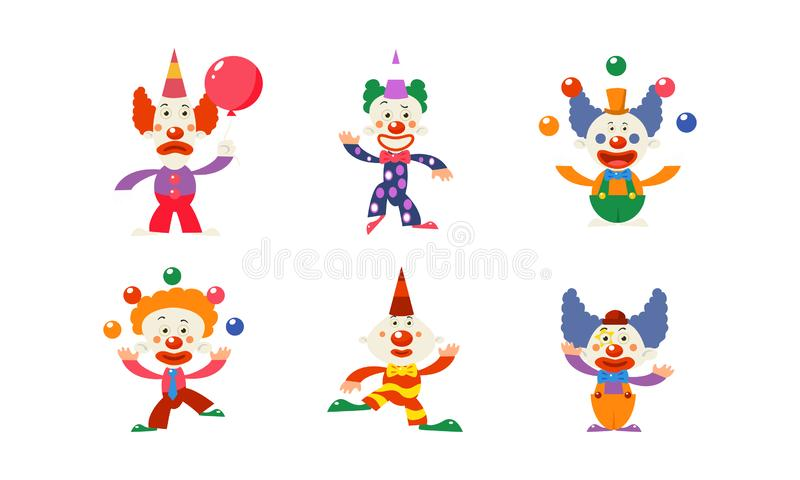 Flacher Vektorsatz von 6 lustigen Clownen in den verschiedenen Aktionen Zirkuskünstler mit bunten Perücken und Make-up auf Gesich stock abbildung