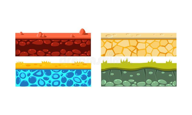 Flacher Vektorsatz von 4 nahtlosen Plattformen Blöcke mit grünem Gras-, Rotem und Orangeboden Spielanlagegüter vektor abbildung