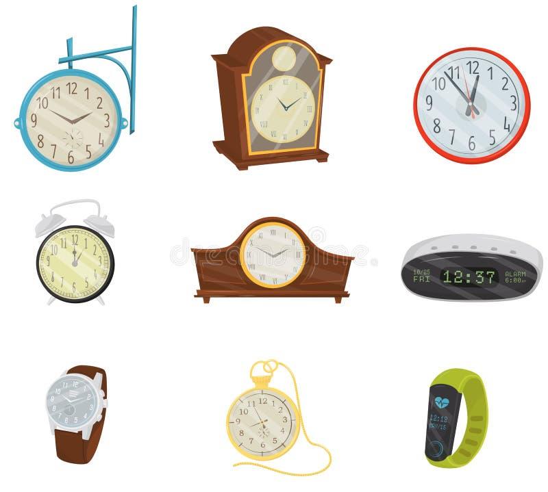 Flacher Vektorsatz von Retro- und modernen Digitaluhren, von klassischer Armbanduhr, von Taschenarmbanduhr und von Eignungsarmban stock abbildung
