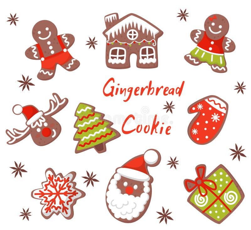 Flacher Vektorsatz Weihnachtslebkuchen in den verschiedenen Formen Geschmackvolle Keksplätzchen verziert mit farbiger Zuckerglasu lizenzfreie abbildung