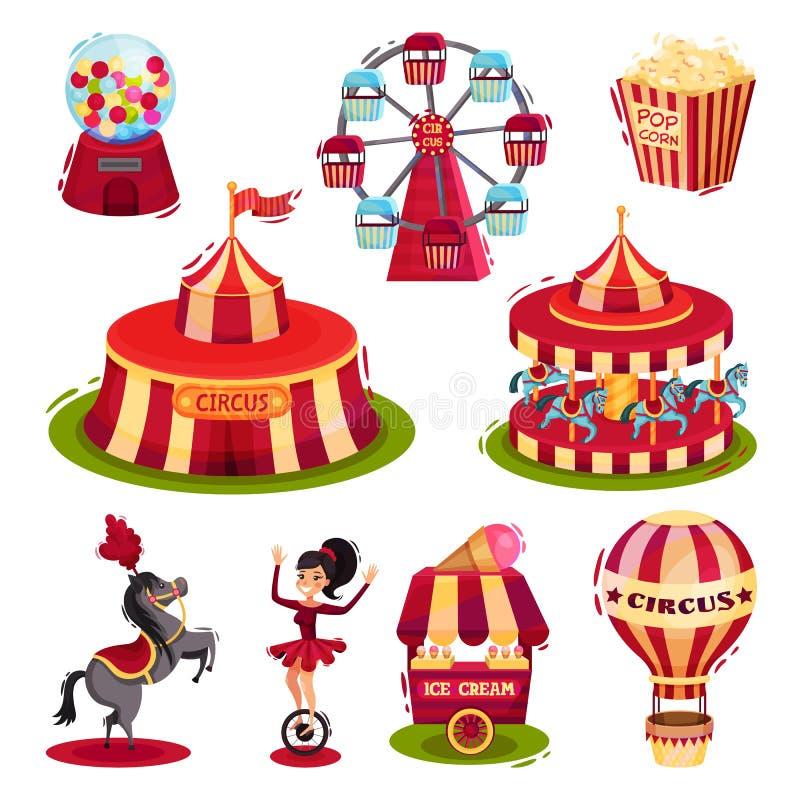 Flacher Vektorsatz Zirkusikonen Karussells, Zirkuszelt, Schnellimbiß des Luftballons Elemente für Plakat oder Flieger lizenzfreie abbildung