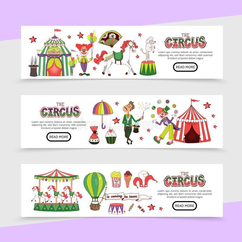 Flacher Zirkus-horizontale Fahnen stock abbildung