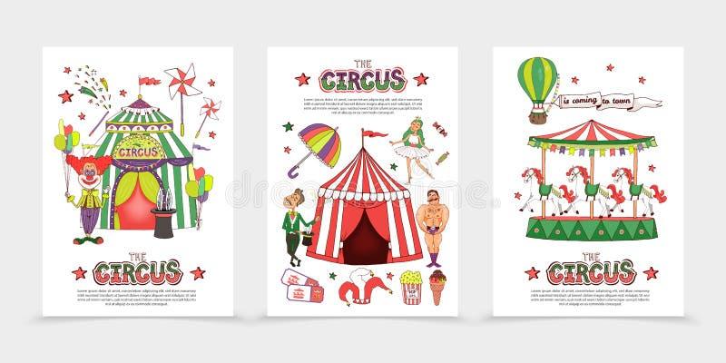 Flacher Zirkus-Poster vektor abbildung