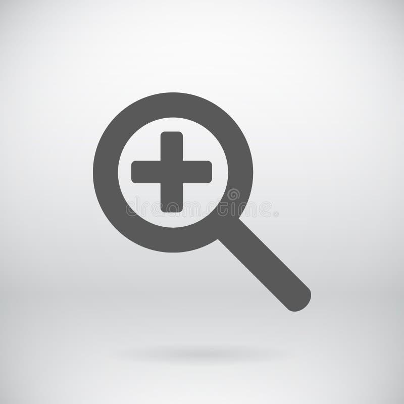 Flacher Zoom-Zeichen-Vektor-Vergrößerungsglas-Symbol-Hintergrund stock abbildung
