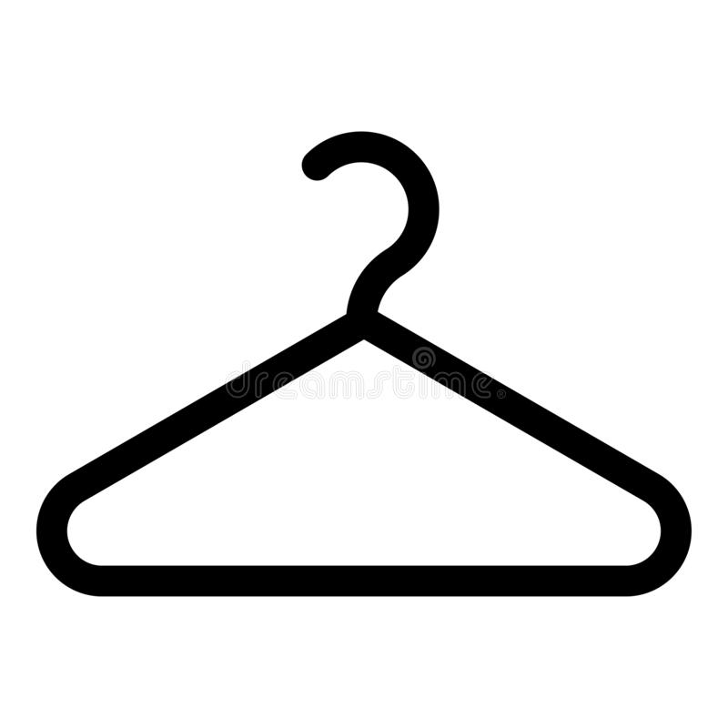 Flaches Artbild der Aufhänger-Kleiderbügelikonenschwarzfarbvektorillustration stock abbildung