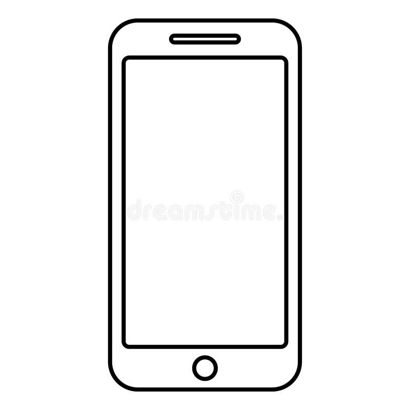 Flaches Artbild der Smartphone-Ikonenschwarzfarbentwurfsvektorillustration stock abbildung
