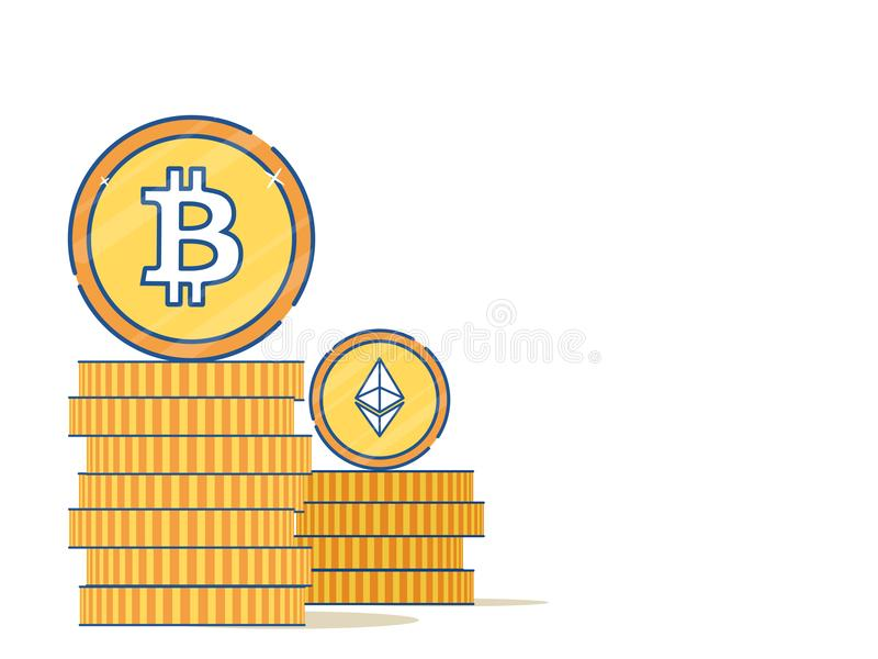 Flaches Artdesign mit bitcoin und Äther lizenzfreie abbildung