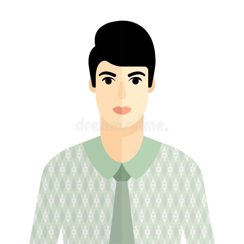 Flaches Artporträt des Vektors des brunette Mannes stock abbildung