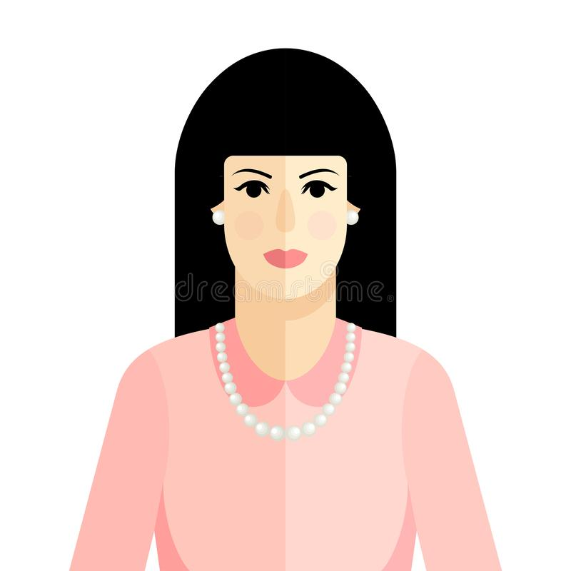 Flaches Artporträt des Vektors der brunette Frau im rosa Kleid stock abbildung