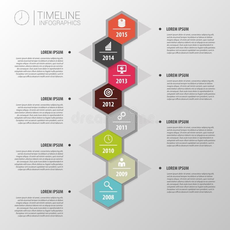 Flaches buntes abstraktes Zeitachse infographics Vektor vektor abbildung
