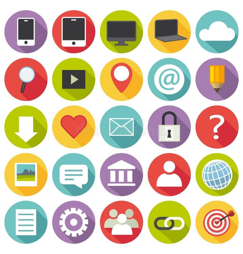 Flaches Design. Büro- und Geschäftsikonen für Netz und stock abbildung