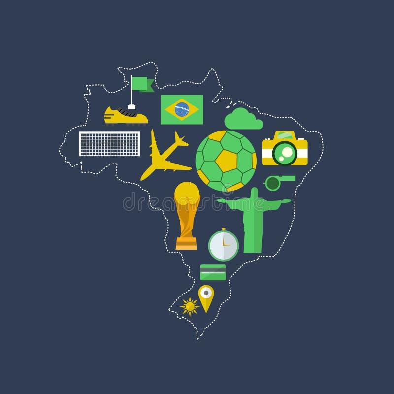 Flaches Design Brasilien-worldcup Ereignisses stock abbildung