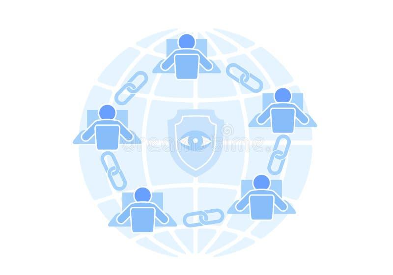 Flaches Design der Blockchain-Linkzeichen-Verbindung Internet-Technologiekettenikonenhyperlink-Sicherheitsgeschäfts-Netzkonzept vektor abbildung