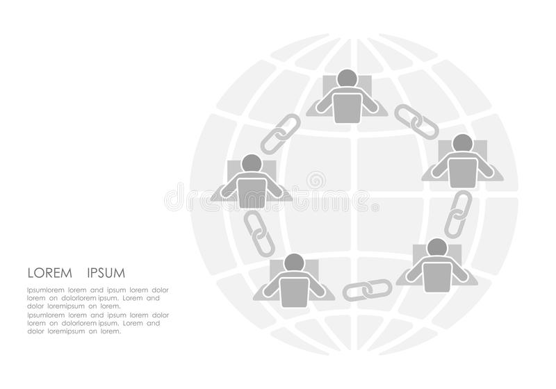 Flaches Design der Blockchain-Linkzeichen-Verbindung Internet-Technologiekettenikonenhyperlink-Sicherheitsgeschäfts-Netzkonzept stock abbildung