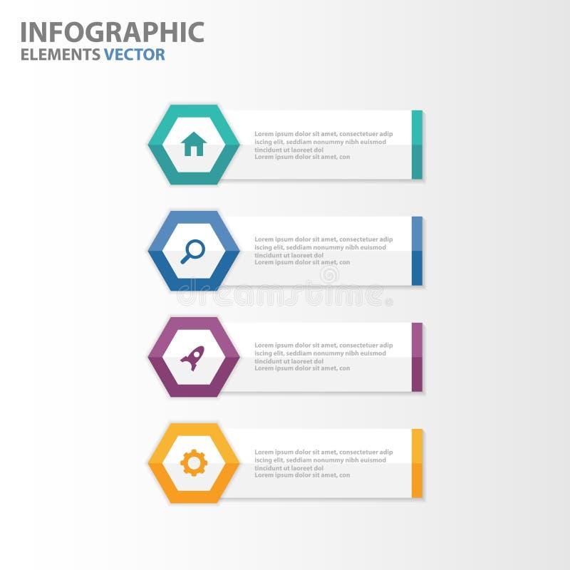 Flaches Design der bunten Hexagonfahne Infographic-Elementdarstellungs-Schablonen stellte für Marketing der Broschürenflieger-Bro lizenzfreie abbildung