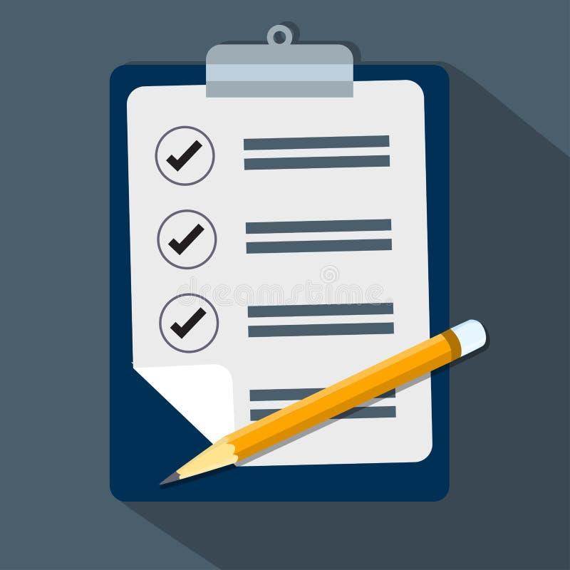 Flaches Design der Check-Liste und des Bleistiftvektors lizenzfreie abbildung