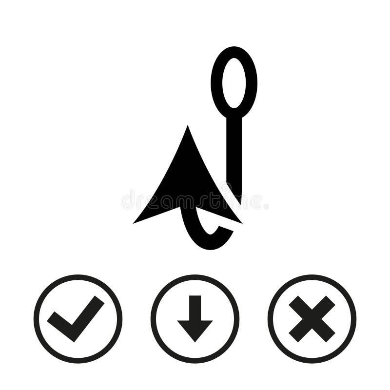 Flaches Design der Fischereihaken-Ikonenvorratvektor-Illustration lizenzfreies stockfoto