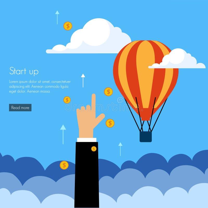 Flaches Design der Geschäftsanfangspresse lizenzfreie abbildung