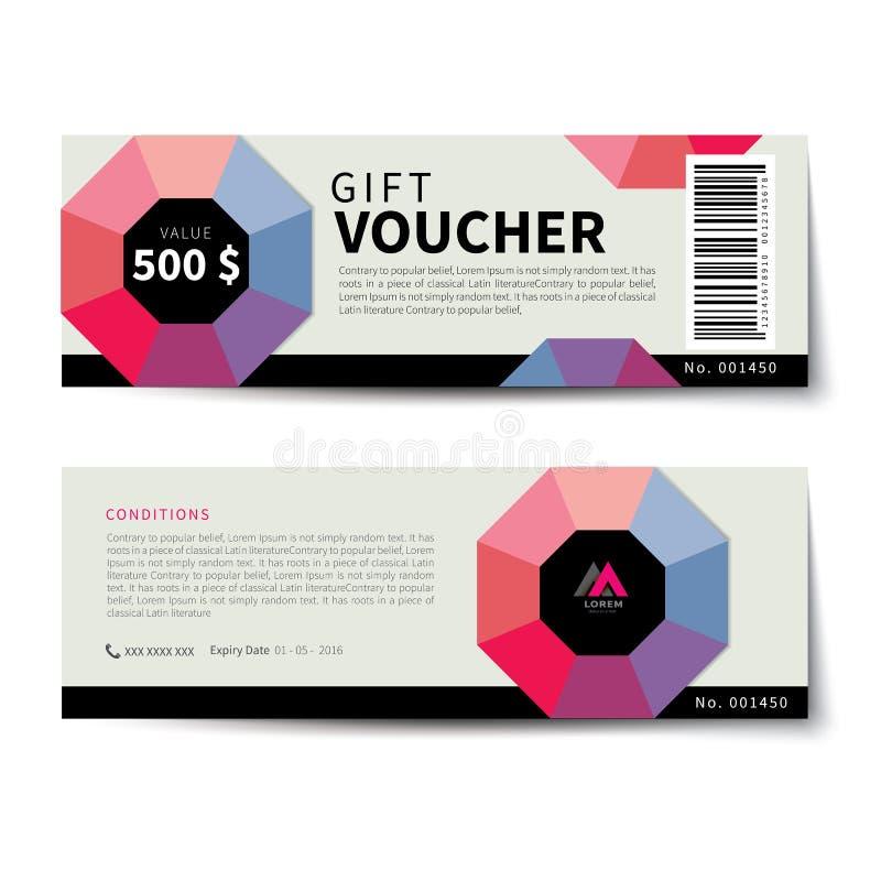 Flaches Design der Geschenkgutscheinrabatt-Schablone lizenzfreie abbildung