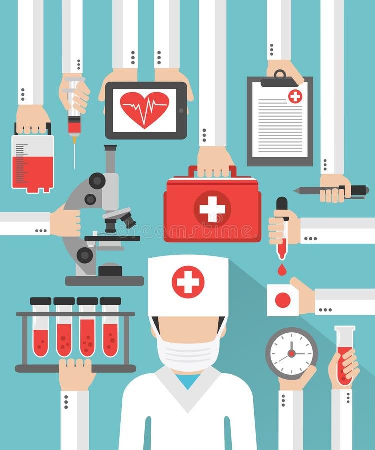 Flaches Design der medizinischen Blutuntersuchung mit Doktor in der Maske lizenzfreie abbildung