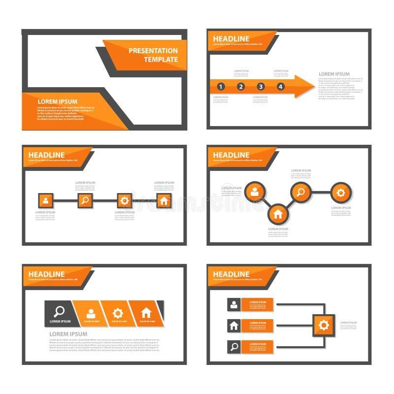 Flaches Design der orange und schwarzen Vielzweckbroschürenfliegerbroschürenwebsite-Schablone stock abbildung