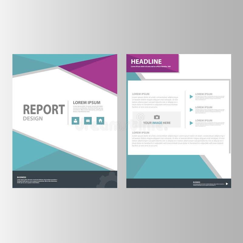 Flaches Design der purpurroten blauen Jahresberichtdarstellungsschablonenelement-Ikone stellte für die Werbung des Marketing-Bros stock abbildung