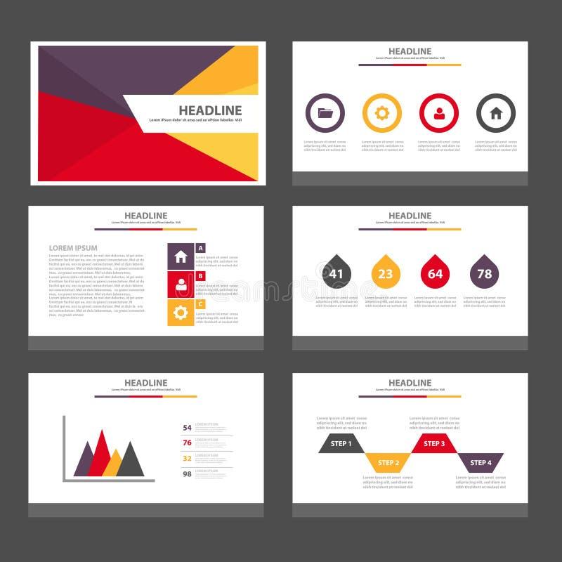 Flaches Design der purpurroten gelben roten Infographic-Elementikonendarstellungs-Schablone stellte für die Werbung des Marketing stock abbildung