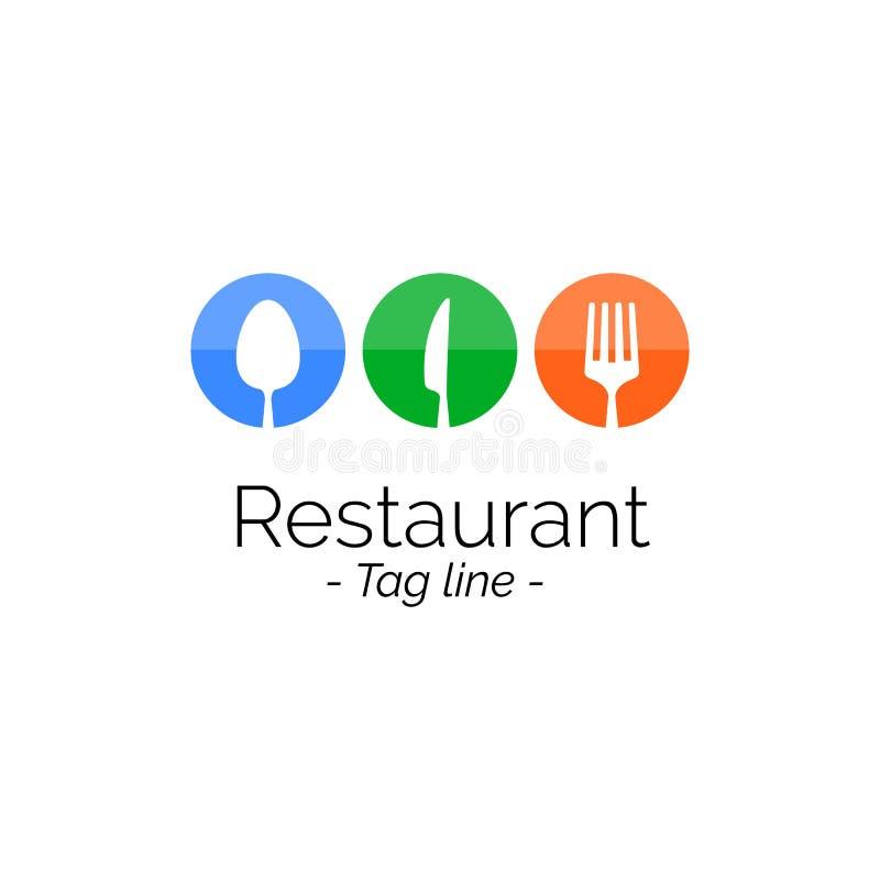 Flaches Design der Restaurant-Logoikone, Vektorillustration der bannerRestaurant flache Designinspiration Logoikone, Vektorillust stock abbildung
