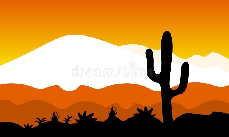 Flaches Design der Wüste am Nachmittag lizenzfreie stockfotografie