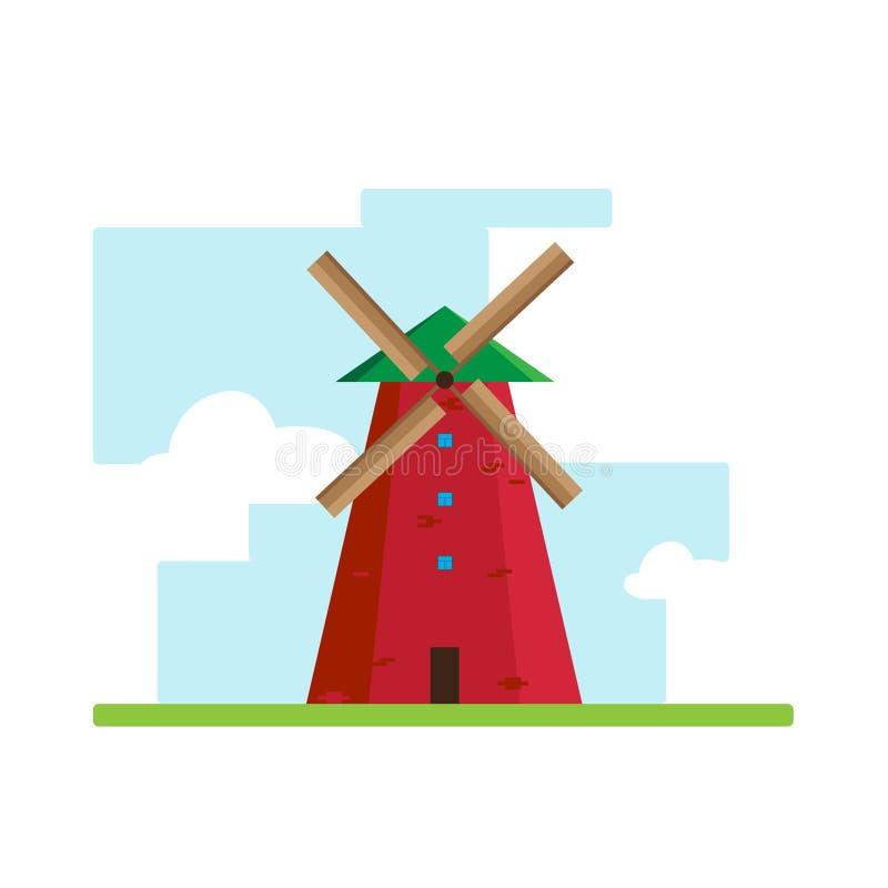 Flaches Design der Windmühle stockfotos