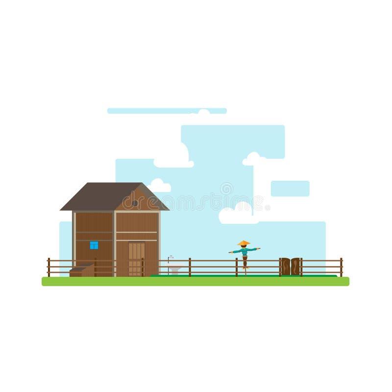 Flaches Design des Bauernhoffeldes stockbild