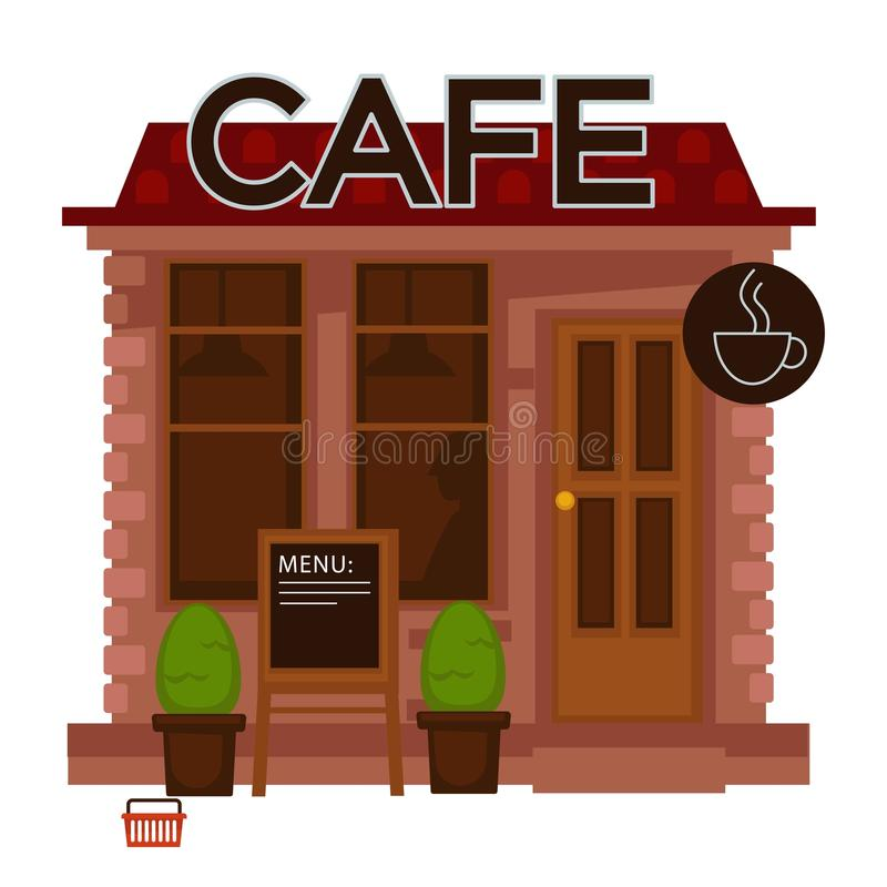 Flaches Design des Caféfassadenaußenvektors lokalisierte Ikone stock abbildung
