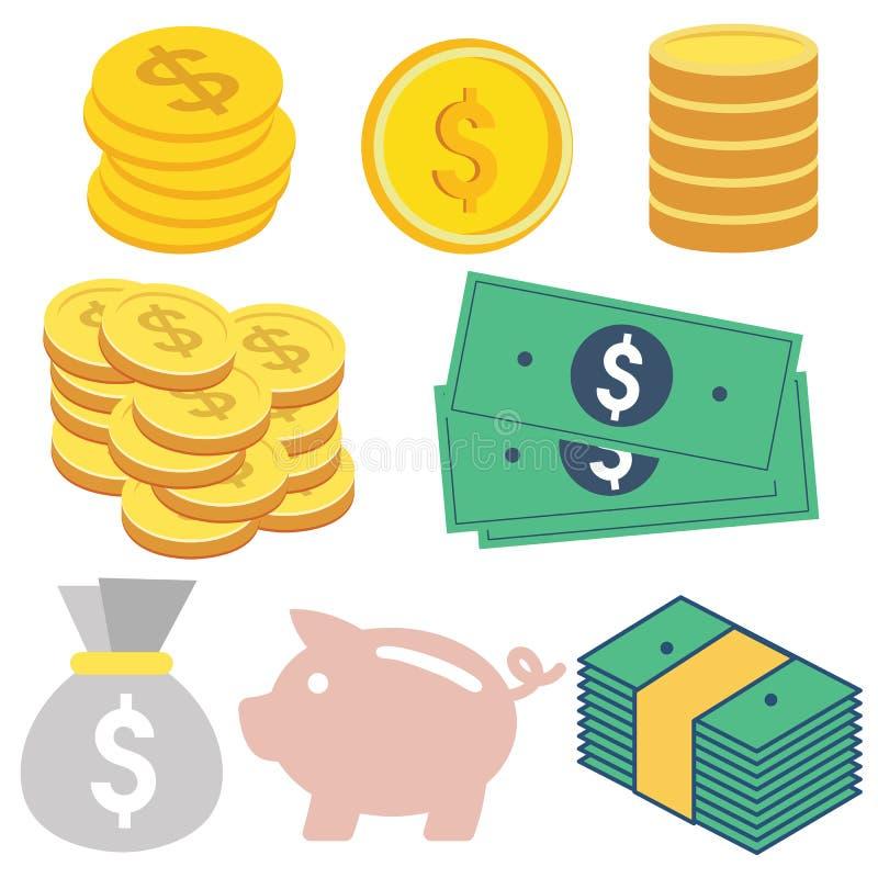 Flaches Design des Geldes lizenzfreies stockbild