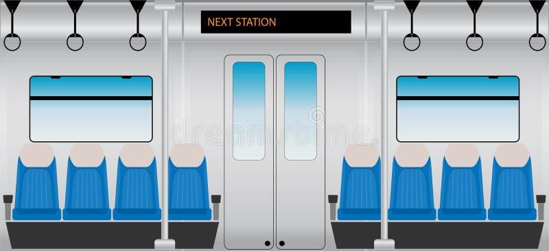 Flaches Design des inneren Metro-Personenzugs lizenzfreie abbildung