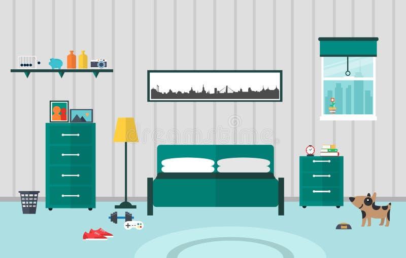 Flaches Design des Schlafzimmers vektor abbildung