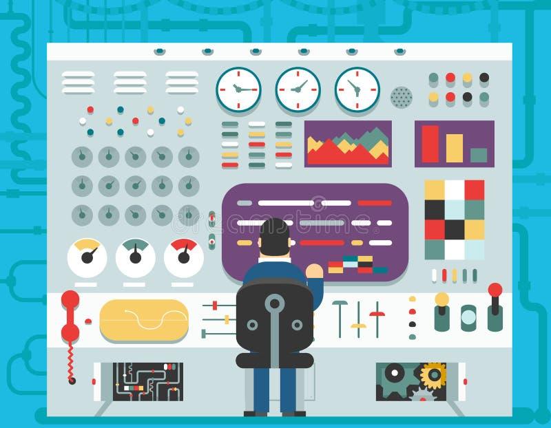 Flaches Design des Technologiebedienfeldarmaturenbrettsystem-Schalterknopf-Anzeigenanalyseproduktions-Aufbauplans vektor abbildung