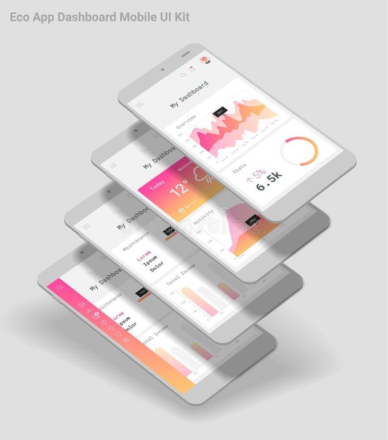 Flaches Design entgegenkommende bewegliche APP Admin-Armaturenbrettes UI mit Modellen 3d vektor abbildung