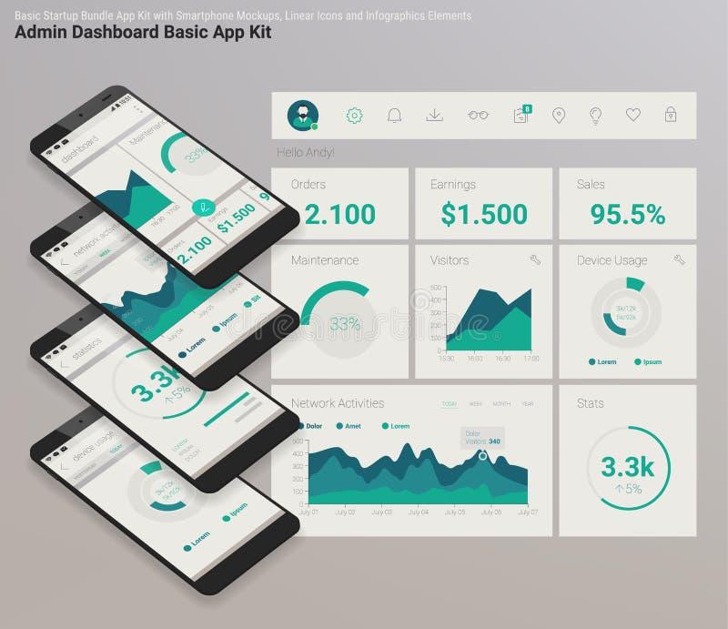 Flaches Design entgegenkommende bewegliche APP Admin-Armaturenbrettes UI mit Modellen 3d lizenzfreie abbildung