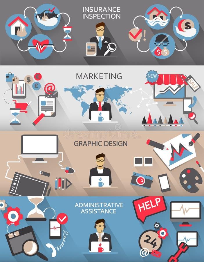Flaches Design Freiberuflich tätige Jobs infographic mit langen Schatten stock abbildung