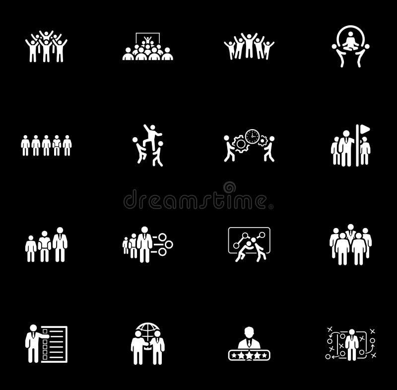 Flaches Design-Geschäft Team Icons Set lizenzfreie abbildung