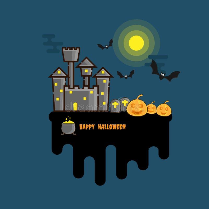 Flaches Design glücklichen Halloween-Hintergrundes lizenzfreie abbildung