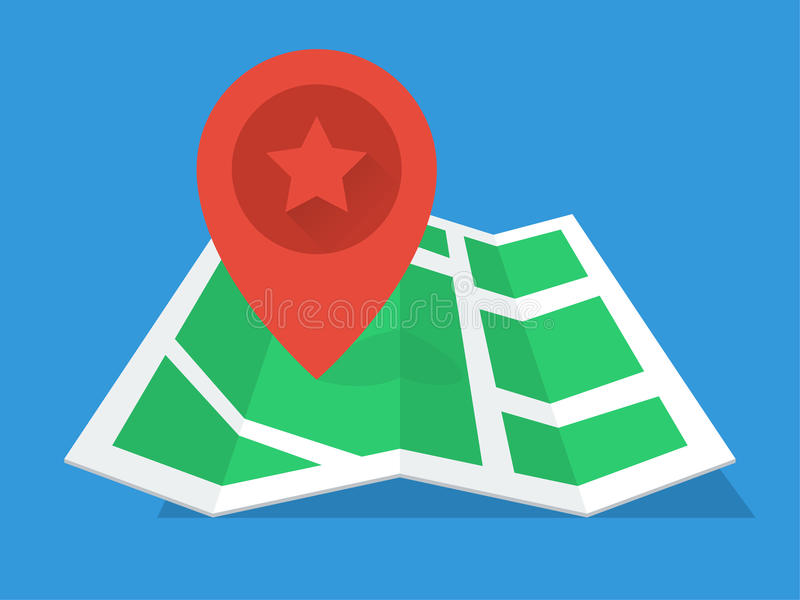 Flaches Design GPS-Karte stockbild