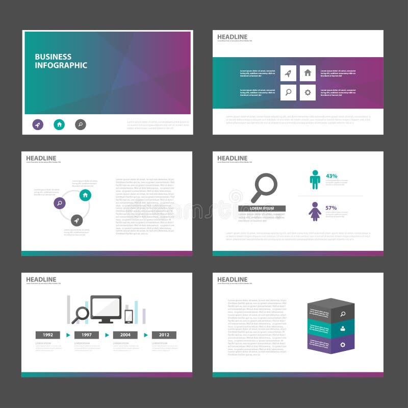 Flaches Design grüner purpurroter Tondarstellungsschablonen Infographic-Elemente stellte für Marketing der Broschürenflieger-Bros stock abbildung