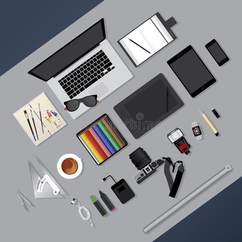 Flaches Design Grafikdesigner Workplace Concept stock abbildung