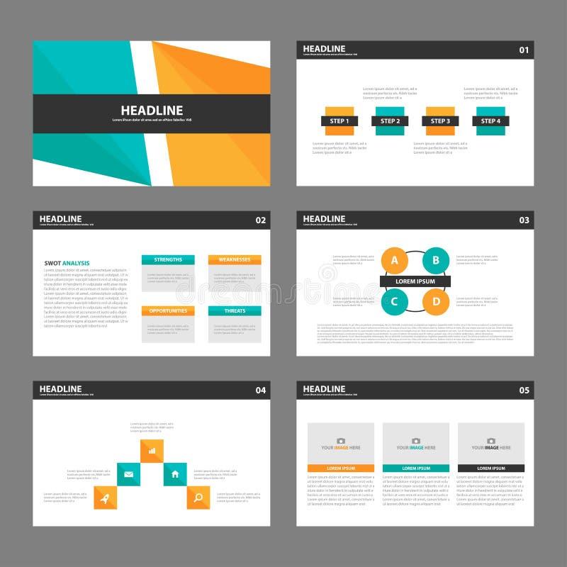 Flaches Design orange grüner Darstellungsschablonen Infographic-Elemente stellte für Marketing der Broschürenflieger-Broschüre ei lizenzfreie abbildung