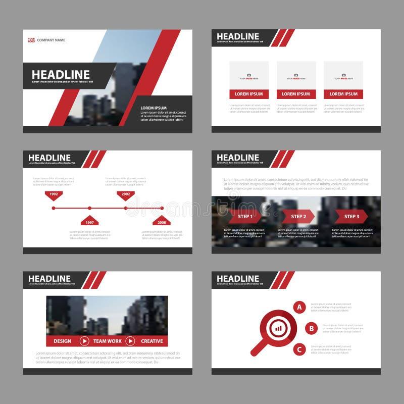Flaches Design roter Darstellungsschablonen Infographic-Elemente stellte für Broschürenfliegerbroschürenmarketing-Werbung ein stock abbildung