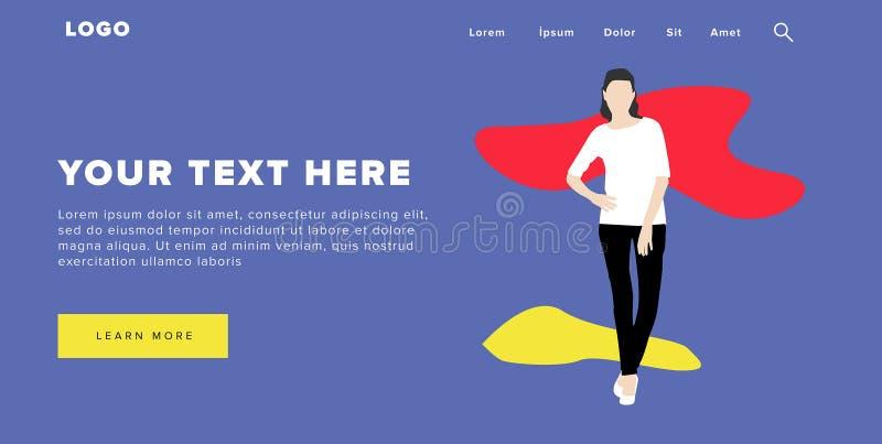 Flaches Design-schließen moderne bunte Netz-Fahne und Schieber Ui-Elemente mit stehender Selbstvertrauen-Frauen-Schattenbild-Land vektor abbildung